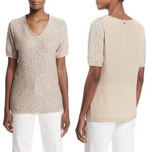 ESCADA Silk Blend Sequined Short Sleeve Sweater
